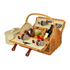 Yorkshire Picnic Basket For Four, Wicker and London Plaid