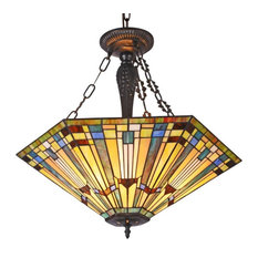 "Kinsey Tiffany-Style 3 Light Mission Large Inverted Ceiling Pendant 24"" Shade"