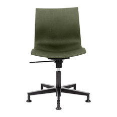 Gimlet Contemporary Swivel Chair, Olive Green, With Slide Feet