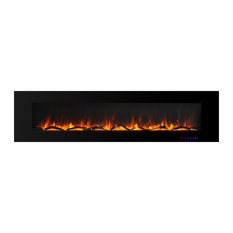 """Valuxhome Luxey Wall Mounted Flat Electric Fireplace, Touch Screen Control, 72"""""""