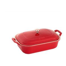 """Staub Ceramic 12""""x8"""" Rectangular Covered Baking Dish, Cherry"""
