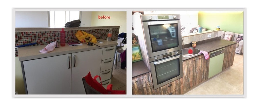 left side-right across from fridge-salon peeking through