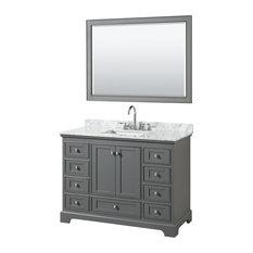 "Deborah 48"" Vanity, 46"" Mirror, Dark Gray, White Carrera Marble, Undermount"