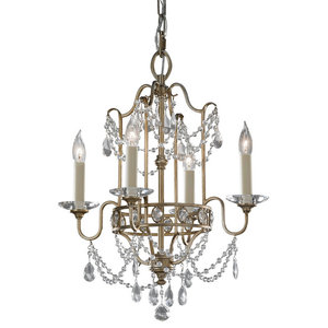 4-Light Chandelier, Gilded Silver