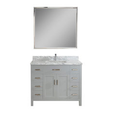 "Kalize II 42"" Vanity Set, Oxford Gray, Top: Carrera White Marble"