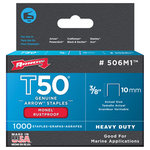 """Arrow Fastener - Arrow Fastener Monel Staples - Staples; For use in Arrow?, Powershot?, Craftsman?, Black and Decker?, Stanley?, Ace?, and other narrow crown heavy-duty staple guns; Monel? rustproof; Made in USA; 1/2""""; 12mm; 1,000 per pack;"""