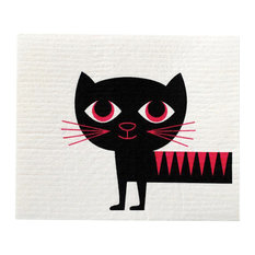 - Swedish Dishcloth Modern Retro Cat - Dish Towels