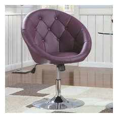 Coaster Contemporary Round Tufted Swivel Chair, Purple