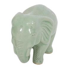 Handmade Elephant Power & Tranquility Celadon ceramic figurine - Thailand