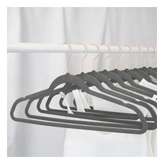 Closet Complete 50 Pack Velvet Non-Slip Hangers with Gold Hooks, Heather Grey Wi