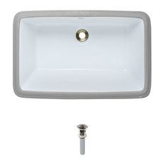 Undermount Porcelain Sink, White, Brushed Nickel Pop-Up Drain
