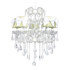 5-Light White Carousel Chandelier With Bow Shades