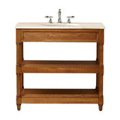 Open Bath Vanity Cabinet in Weathered Oak with Marble Vanity Top in White