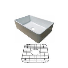 Fireclay Glossy White Farmhouse Kitchen Sink With Stainless Sink Protective Grid