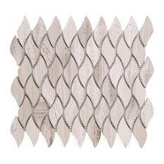 "10.25""x11.75"" Dashiel Stone Mosaic Tile Sheet, Wooden Beige"