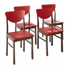 Prien Retro Dining Chairs, Red & Walnut Wood