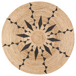 Anji Mountain - Jute Round Tribal Line Black Print, 8' Round - Plan your home decor consciously with this round natural jute area rug. This artisanal floor covering is handmade using sustainable materials and ethical labor practices, so you can feel good about your rug choice. Place yours beneath dining room furniture, in living rooms, or inside your entryways for an inviting, natural look that fuses coastal elegance with refined minimalism. Don't be fooled by its delicately braided appearance this round jute rug is incredibly hardwearing, making it a wise choice for high-traffic areas of the home. It resists moisture, static, and heavy wear while a low-rise profile prevents tripping, slipping, or bunching. Good Weave licensed and made from sustainable materials.