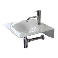 Ultra Thin Square White Ceramic Wall Mounted Sink, One Hole