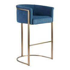 Euro Style - Marrisa-B Bar Stool, Blue Fabric With Light Brass Base - Bar Stools and Counter Stools