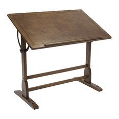 "Offex Elegant Distressed Vintage Drafting Table, Rustic Oak, 42""x30"""