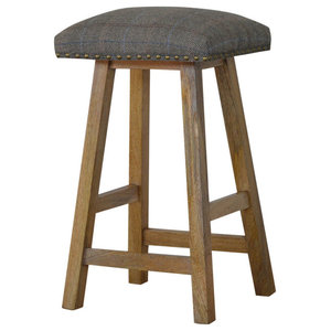 Solid Wood Stool with Upholstered Multi Tweed Top