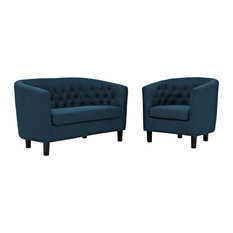 Azure Prospect 2 Piece Upholstered Fabric Loveseat And Armchair Set