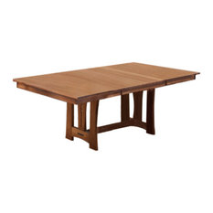 "A-America Cattail Bungalow 96"" Trestle Table With 2 Leaves, Warm Amber"