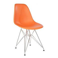 Orange Chromed Steel Legs Eiffel Dining Room Chair Set Of 4