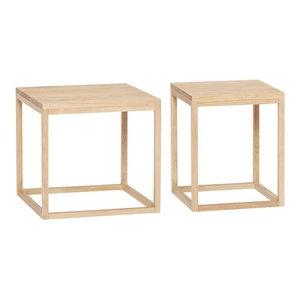 Hübsch Side Tables in Solid Oak, Set of 2