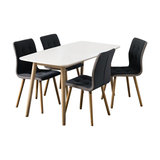 Nagane Dining Table And Fridi Chairs, Dark Grey Fabric, 4 Chairs