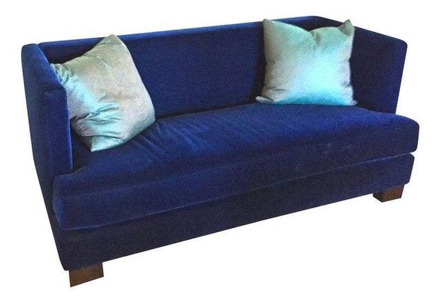 Modern Blue Mohair Sofa