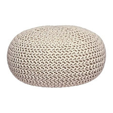 Knitted Pouffe, Cream, Large