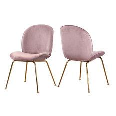 Paris Velvet Dining Chairs, Set of 2, Pink Velvet, Gold Base