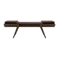 Milton Smoked Walnut and Leather Bench