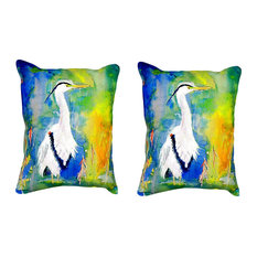 Pair of Betsy Drake D&B's Blue Heron No Cord Pillows