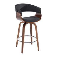 "Upholstered and Wood 26"" Swivel Counter Stool, Charcoal Gray"