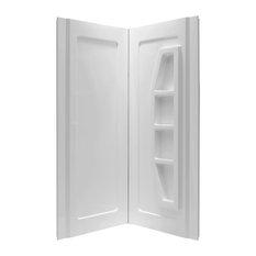 """Gradient 36""""x36""""x74"""" 2-Piece Direct-to-Stud Corner Shower Surround, White"""
