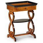Inviting Home Inc. - Two Level Table - Two level carved wood rectangular table with scroll design. Occasional table has one drawer, antiqued light walnut finish and distressed black trim. This table is hand-crafted in Italy.