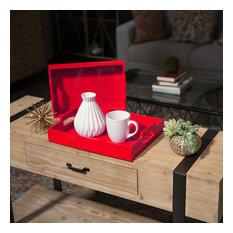 Wood Rectangular Serving Trays, 2-Piece Set, Red