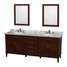 "Hatton 80"" Dark Chestnut Double Vanity With Carrera Marble Top and Oval Sink"