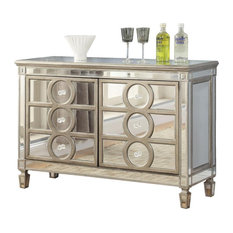 Cosmos Furniture Brooklyn Contemporary Style Dining Server In Silver Finish Wood
