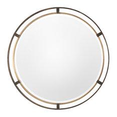 """Midcentury Modern Gold Bronze Round Mirror, 36"""" Thin Frame Minimalist Metal"""