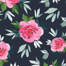 Simoney Peonies Wallpaper, Navy and Pink, Paste The Wall