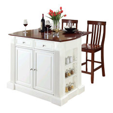 Crosley Furniture Coventry Drop Leaf Breakfast Bar Kitchen Island With Stools White Kitchen