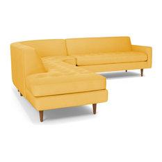 Monroe 3-Piece Sectional Sofa, Marigold Velvet, Chaise on Left