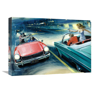 Bay Dreamer Led Lighted Classic Boat Canvas Wall Art Print Traditional Prints And Posters By Zeckos Houzz