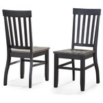 Steve Silver - Steve Silver Raven Noir Side Chair, Set of 2 - Steve Silver Raven Noir Side Chair - Set of 2 Raven Noir Side Chair - Set of 2 by Steve Silver The Raven Dining Collection features farmhouse styling with an updated look combining clean lines with a two-tone ebony and driftwood finish. The Raven Side Chairs with schoolhouse styling feature a scoop seat for comfort and stretchers with a tapered leg for strength and support.  Your purchase includes two dining side chairs.