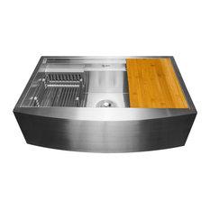 """AKDY 30""""x20""""x9"""" Apron Farmhouse Handmade Stainless Steel Kitchen Sink"""