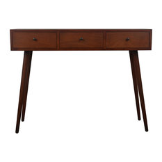 Decor Therapy - Mid Century Three Drawer Wood Console Table - Console Tables