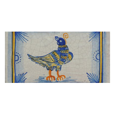 "Bird Rectangle Tile, San Donato, Made in Castelli, Italy, 6""x12"""